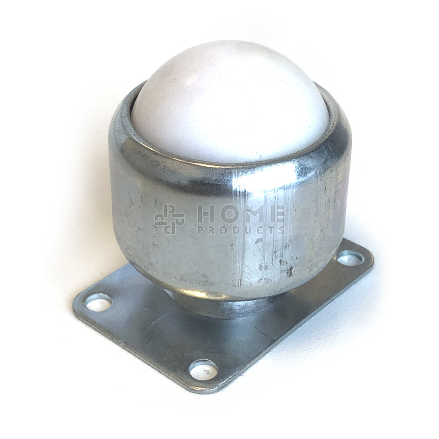 Ball transfer unit, 38.1 mm, with mounting holes and Nylon ball, for under cupboard